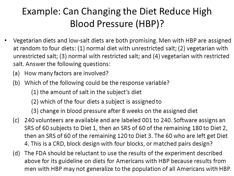 Example: Can Changing the Diet Reduce High Blood Pressure (HBP)