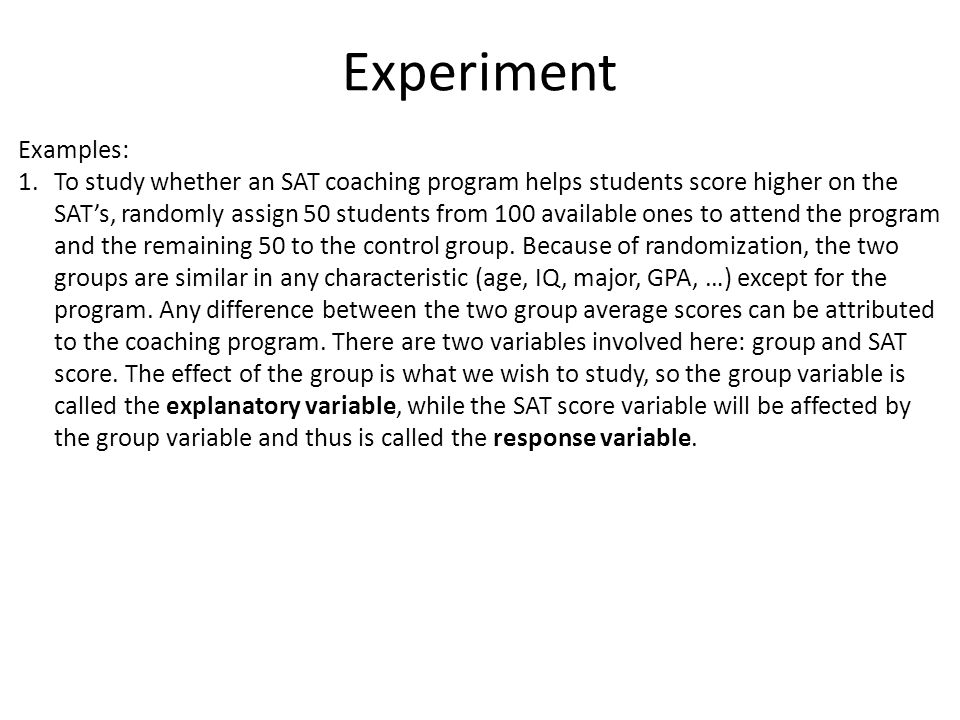 Experiment Examples: