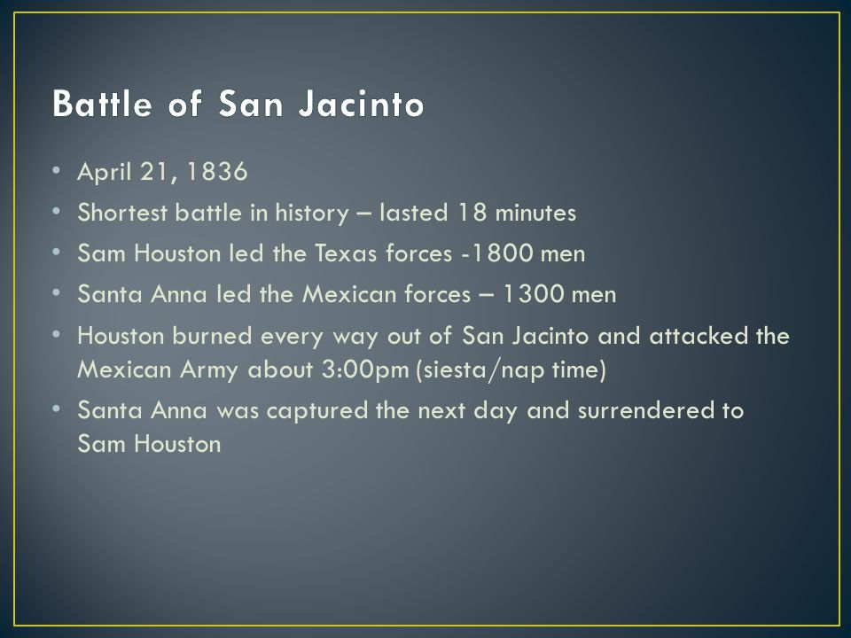 Battle of San Jacinto April 21, 1836