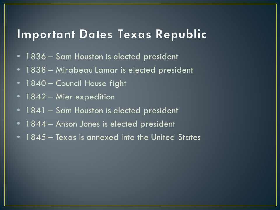 Important Dates Texas Republic