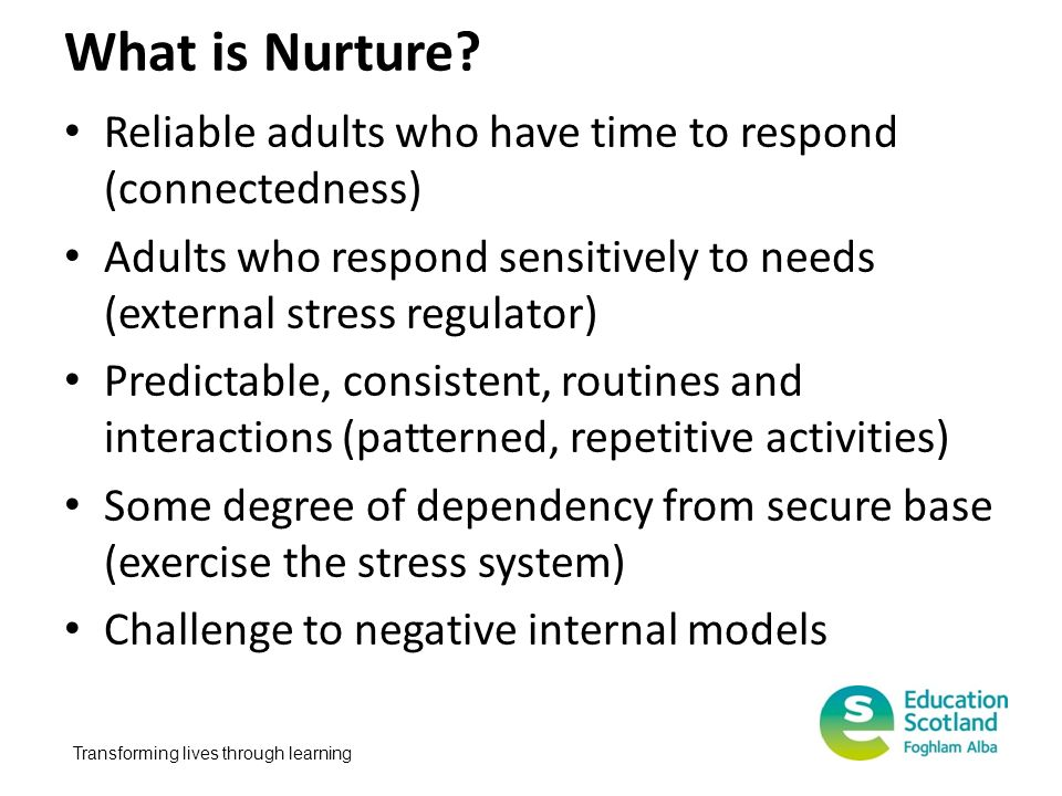 What is Nurture Reliable adults who have time to respond (connectedness) Adults who respond sensitively to needs (external stress regulator)