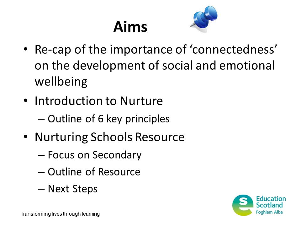 Aims Re-cap of the importance of 'connectedness' on the development of social and emotional wellbeing.