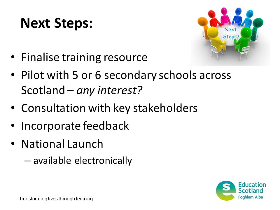 Next Steps: Finalise training resource