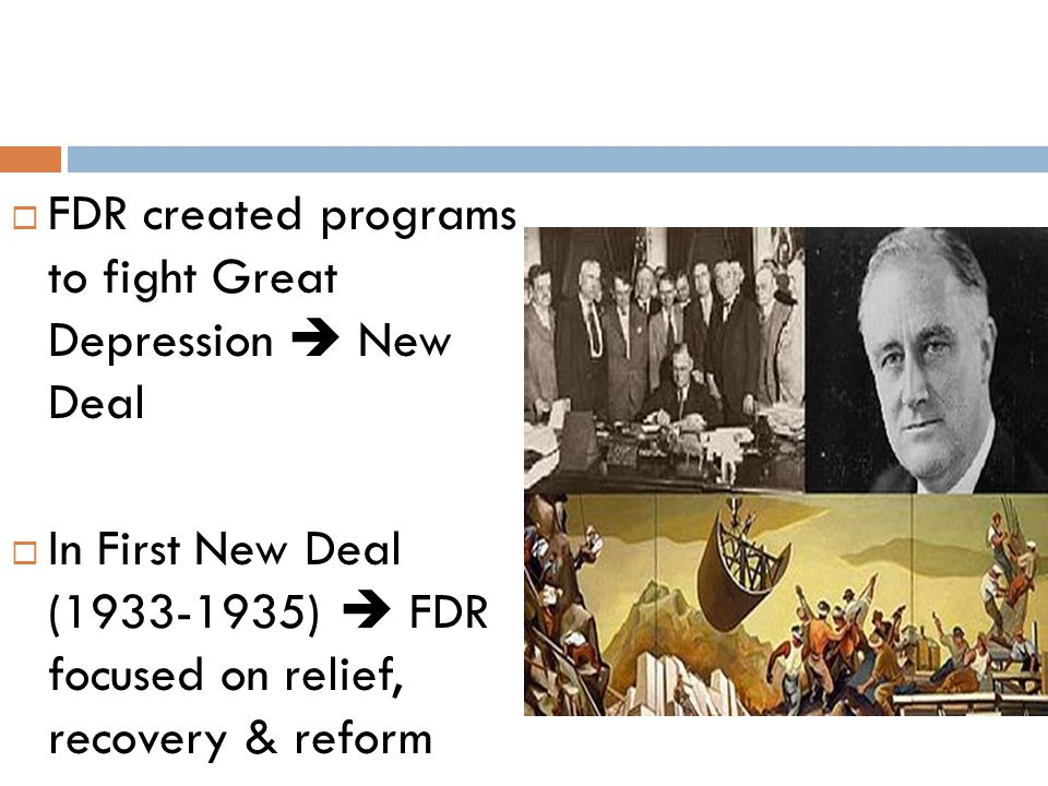 FDR created programs to fight Great Depression  New Deal