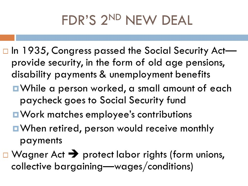 FDR'S 2ND NEW DEAL