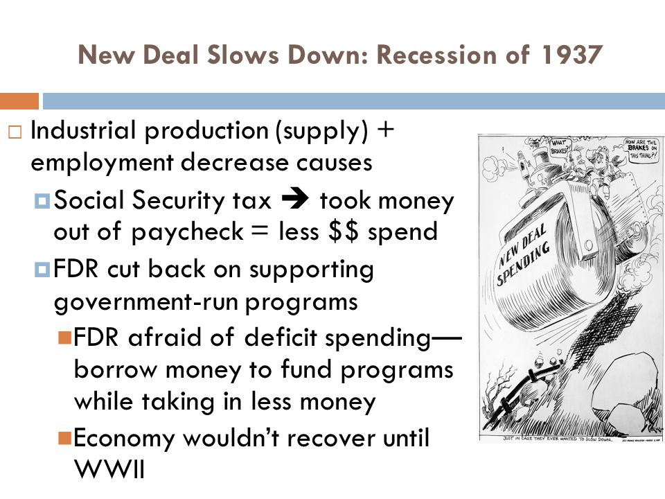 New Deal Slows Down: Recession of 1937