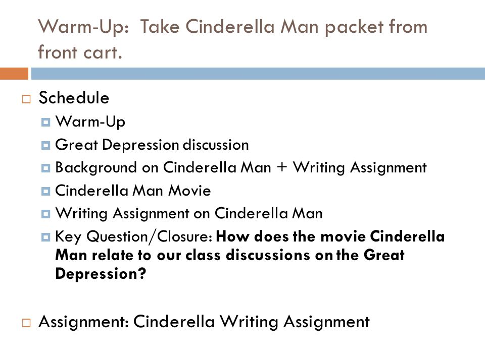 cinderella man analysis of the great depression Assessment compose a diary entry as a child living in the great depression   the photo essay as a basis for your entry unit of work – cinderella man 5 activity .