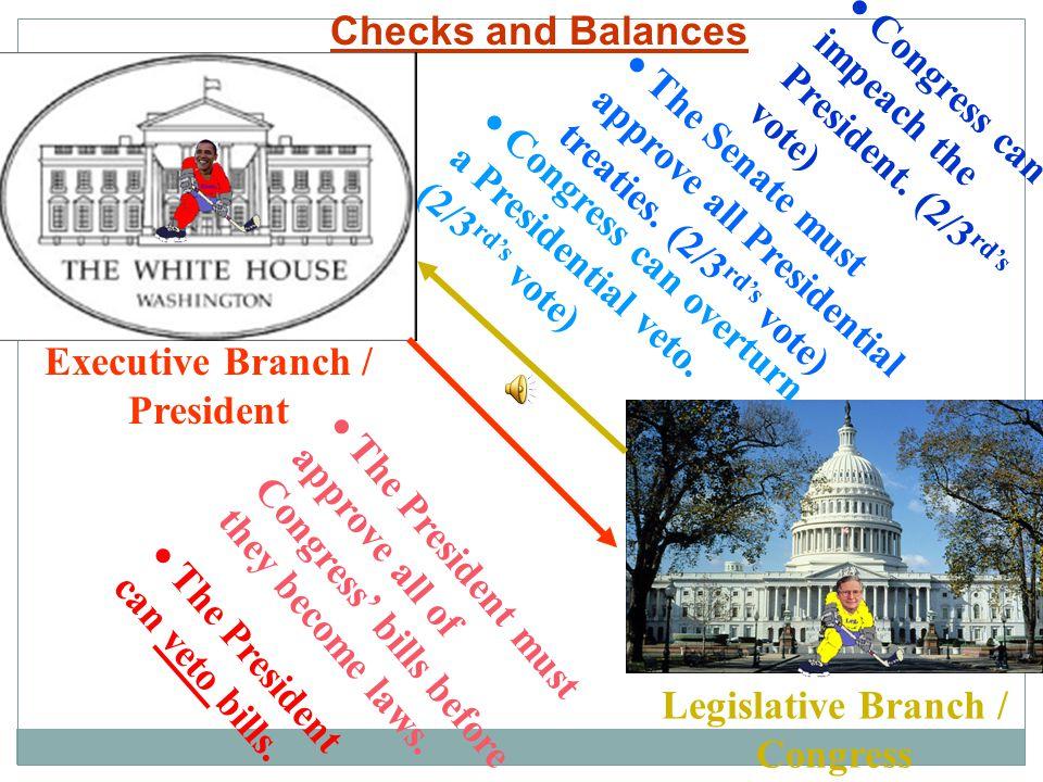 Executive Branch / President Legislative Branch / Congress