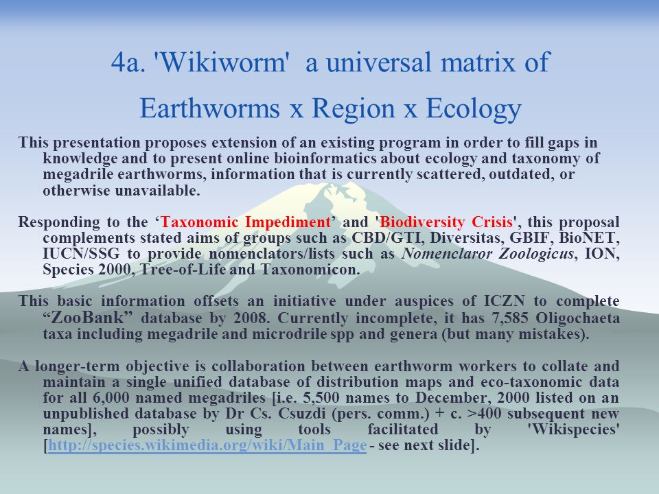 4a. Wikiworm a universal matrix of Earthworms x Region x Ecology