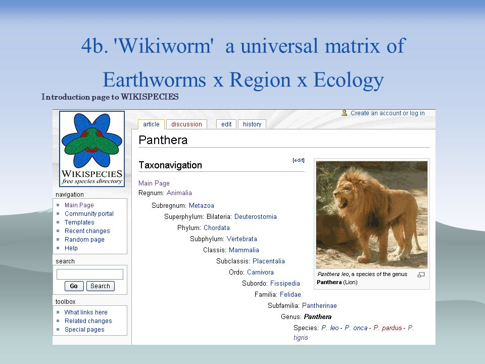 4b. Wikiworm a universal matrix of Earthworms x Region x Ecology