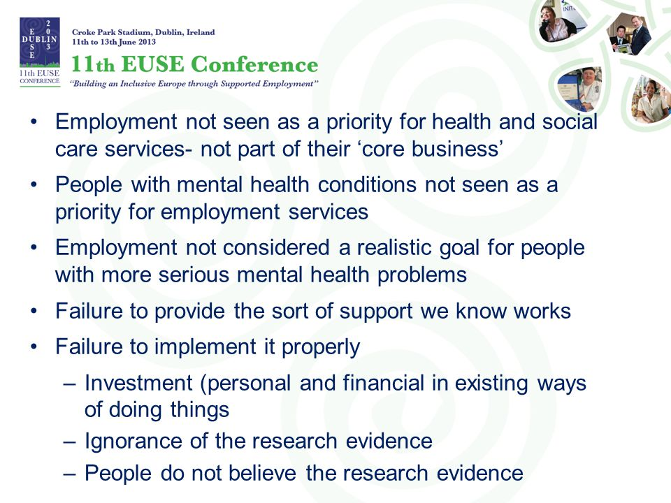Employment not seen as a priority for health and social care services- not part of their 'core business'