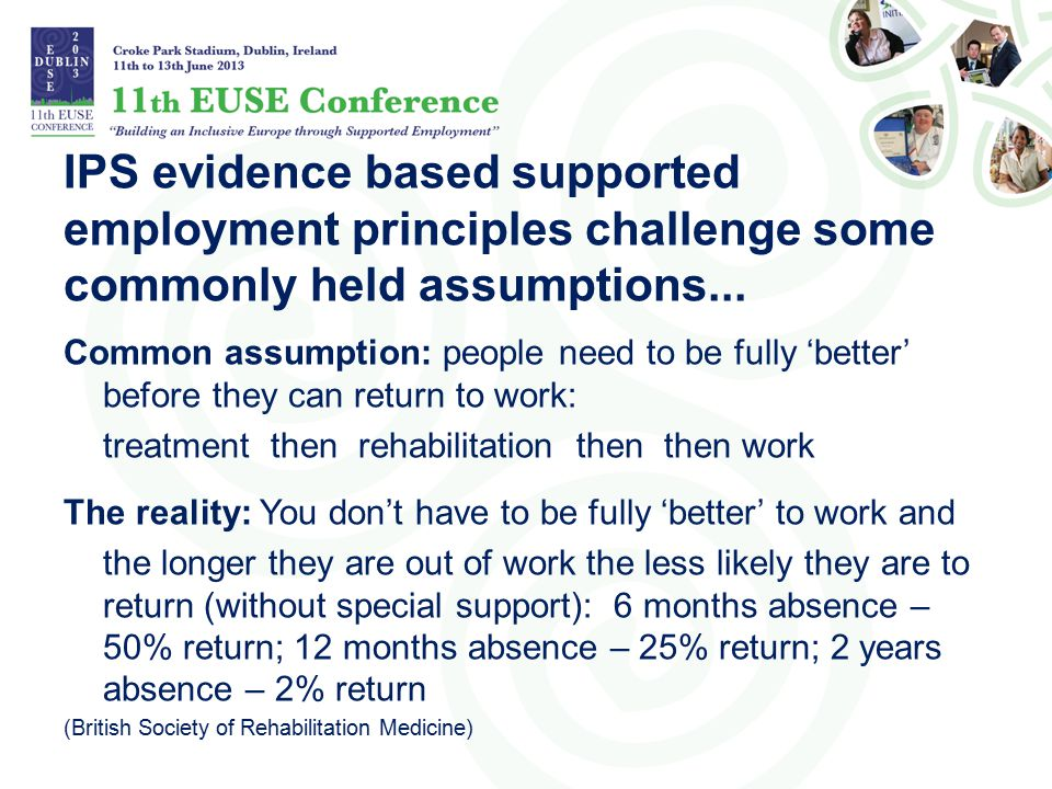 IPS evidence based supported employment principles challenge some commonly held assumptions...