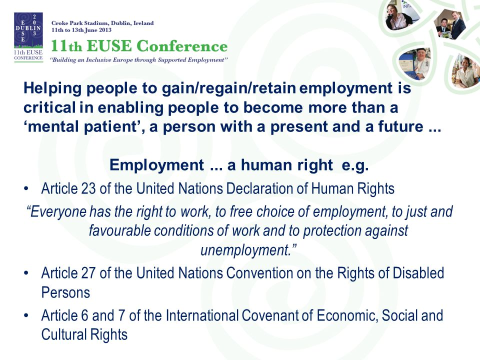 Employment ... a human right e.g.