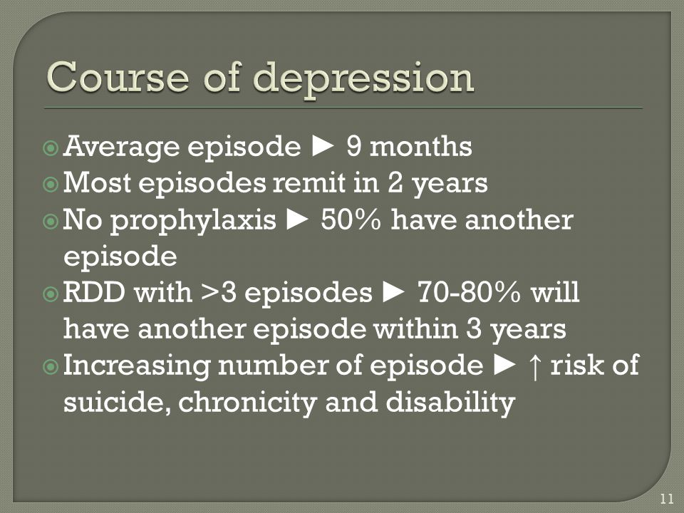 Course of depression Average episode ► 9 months
