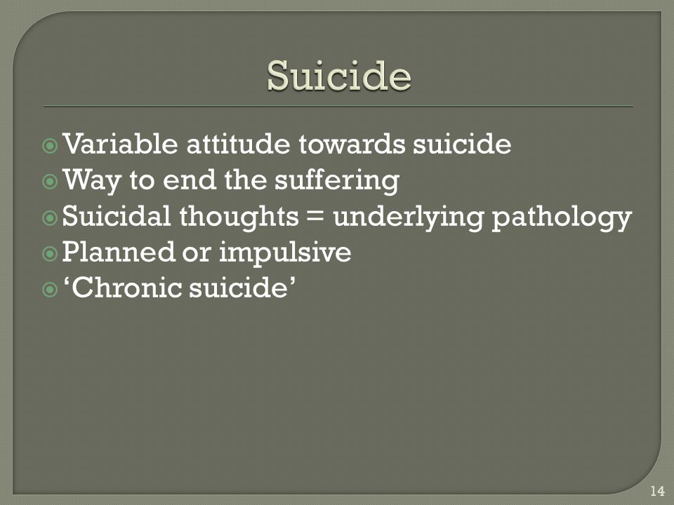 Suicide Variable attitude towards suicide Way to end the suffering