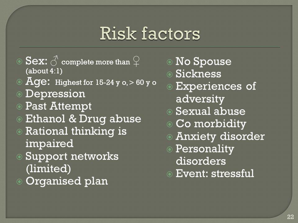 Risk factors Sex: ♂ complete more than ♀ (about 4:1) No Spouse