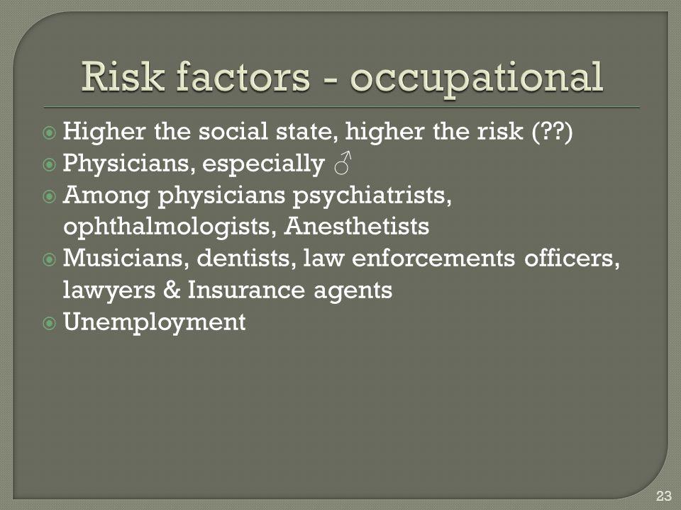 Risk factors - occupational