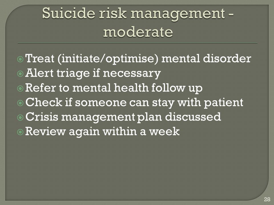 Suicide risk management - moderate