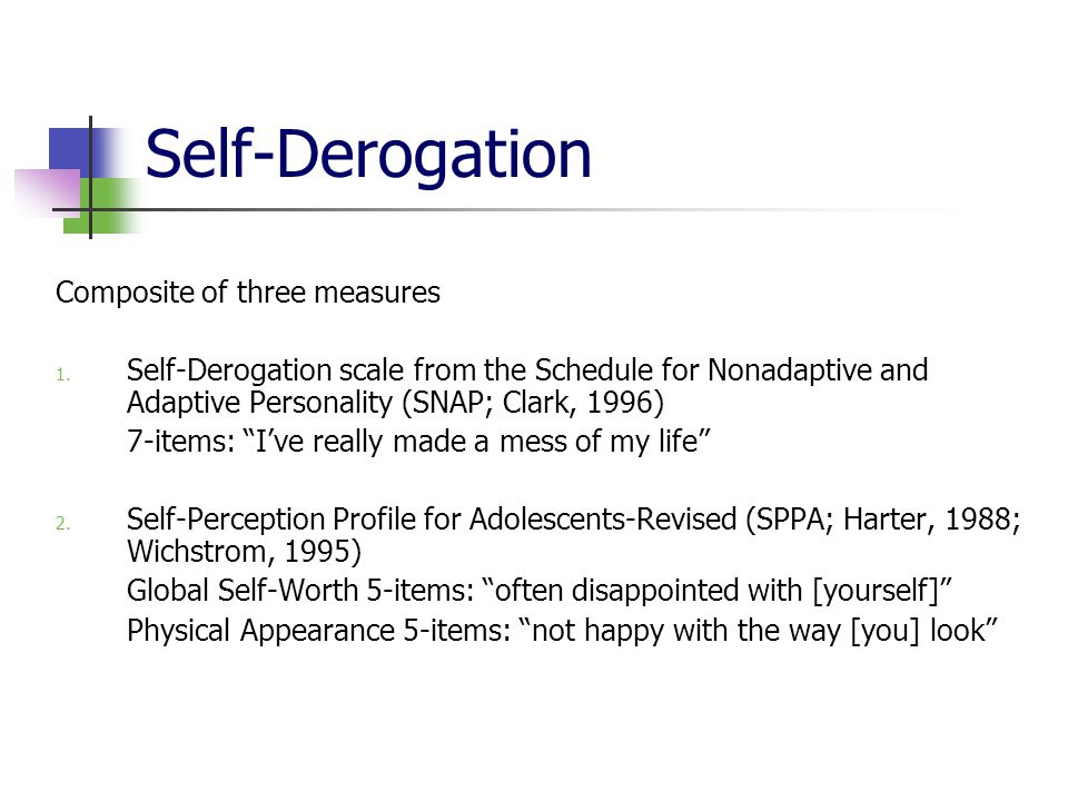 Self-Derogation Composite of three measures