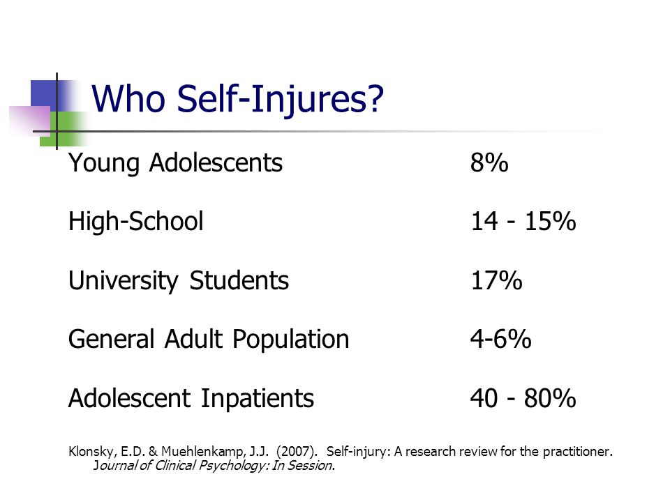 Who Self-Injures Young Adolescents 8% High-School 14 - 15%
