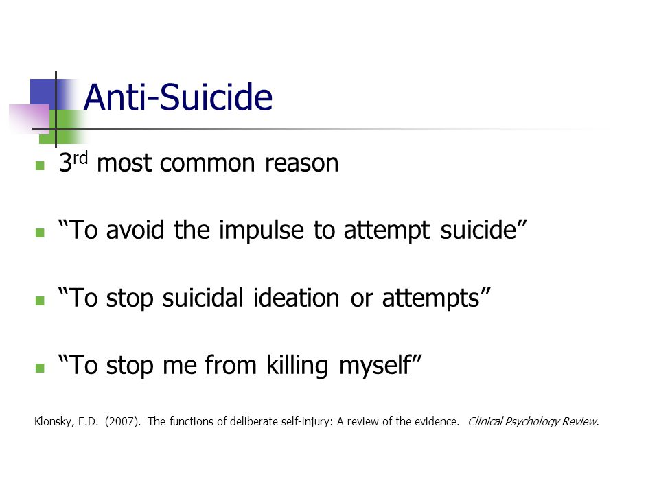 Anti-Suicide 3rd most common reason