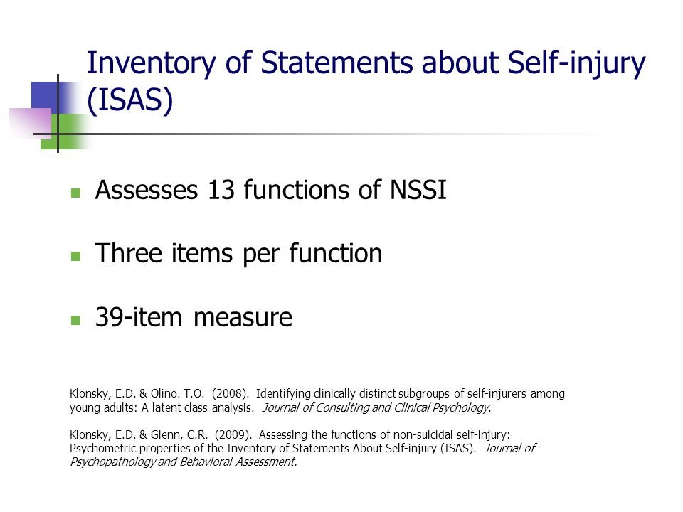 Inventory of Statements about Self-injury (ISAS)