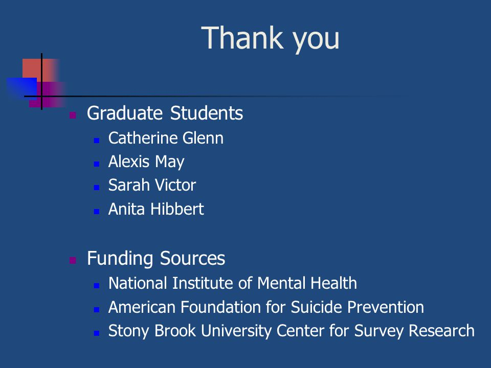 Thank you Graduate Students Funding Sources Catherine Glenn Alexis May