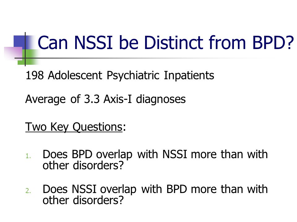 Can NSSI be Distinct from BPD