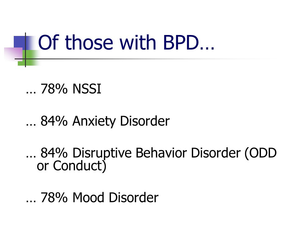 Of those with BPD… … 78% NSSI … 84% Anxiety Disorder