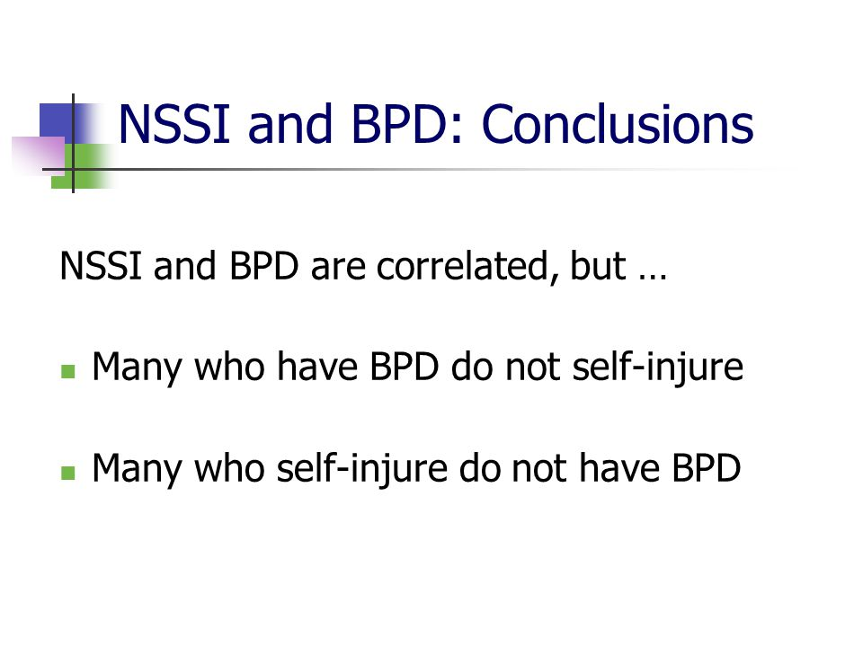 NSSI and BPD: Conclusions