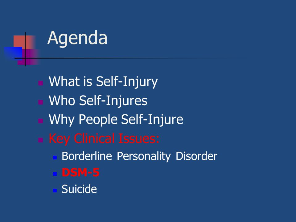 Agenda What is Self-Injury Who Self-Injures Why People Self-Injure