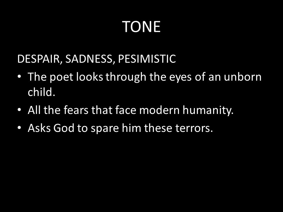 TONE DESPAIR, SADNESS, PESIMISTIC