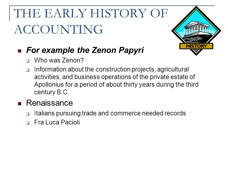 THE EARLY HISTORY OF ACCOUNTING