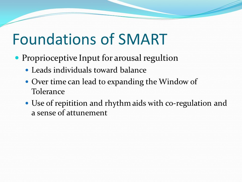 Foundations of SMART Proprioceptive Input for arousal regultion