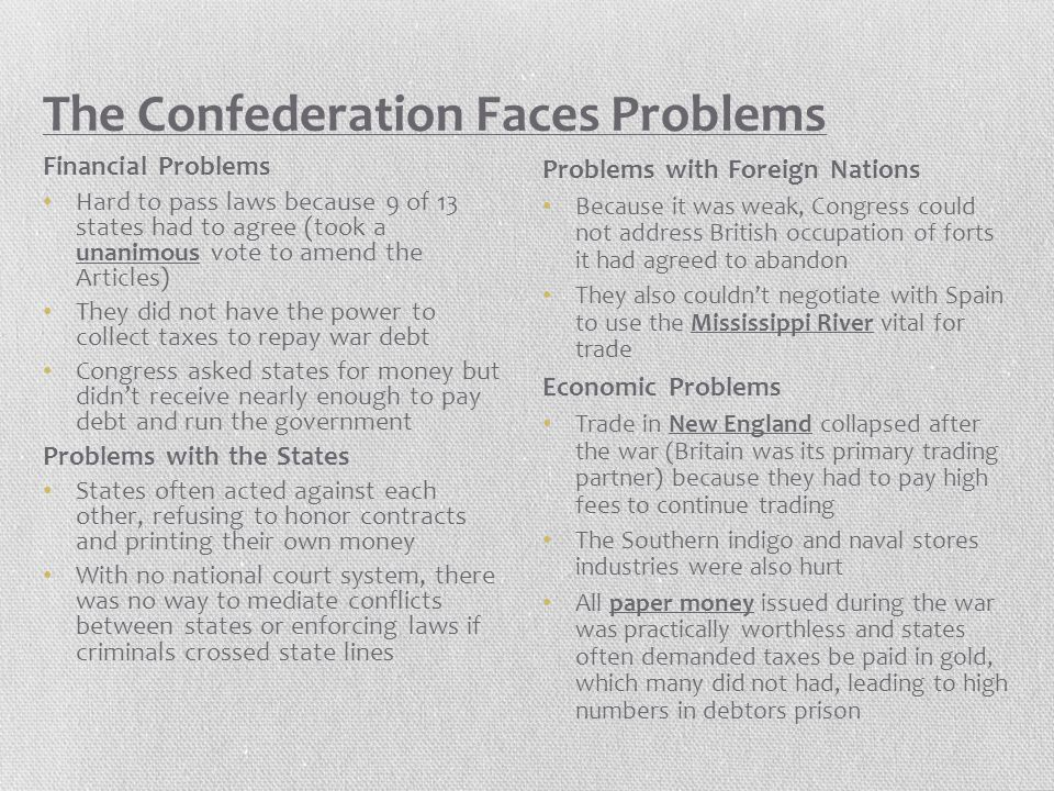 The Confederation Faces Problems
