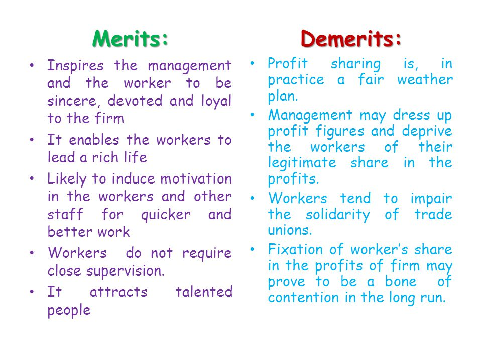 Merits: Demerits: Inspires the management and the worker to be sincere, devoted and loyal to the firm.