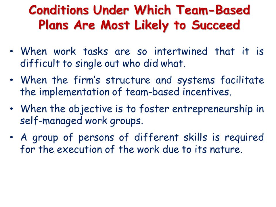 Conditions Under Which Team-Based Plans Are Most Likely to Succeed