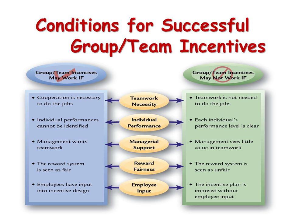 Conditions for Successful Group/Team Incentives