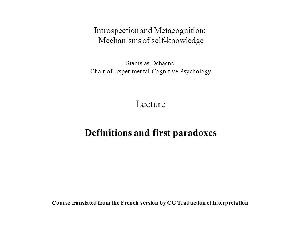 Lecture Definitions and first paradoxes