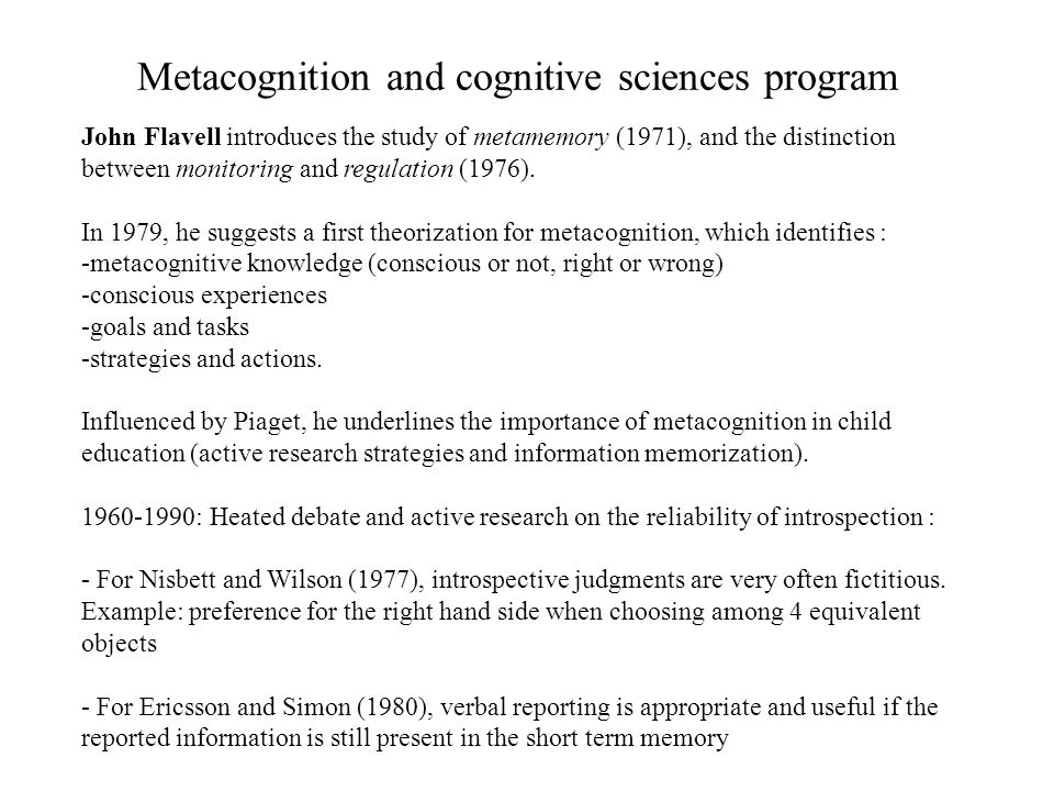 Metacognition and cognitive sciences program