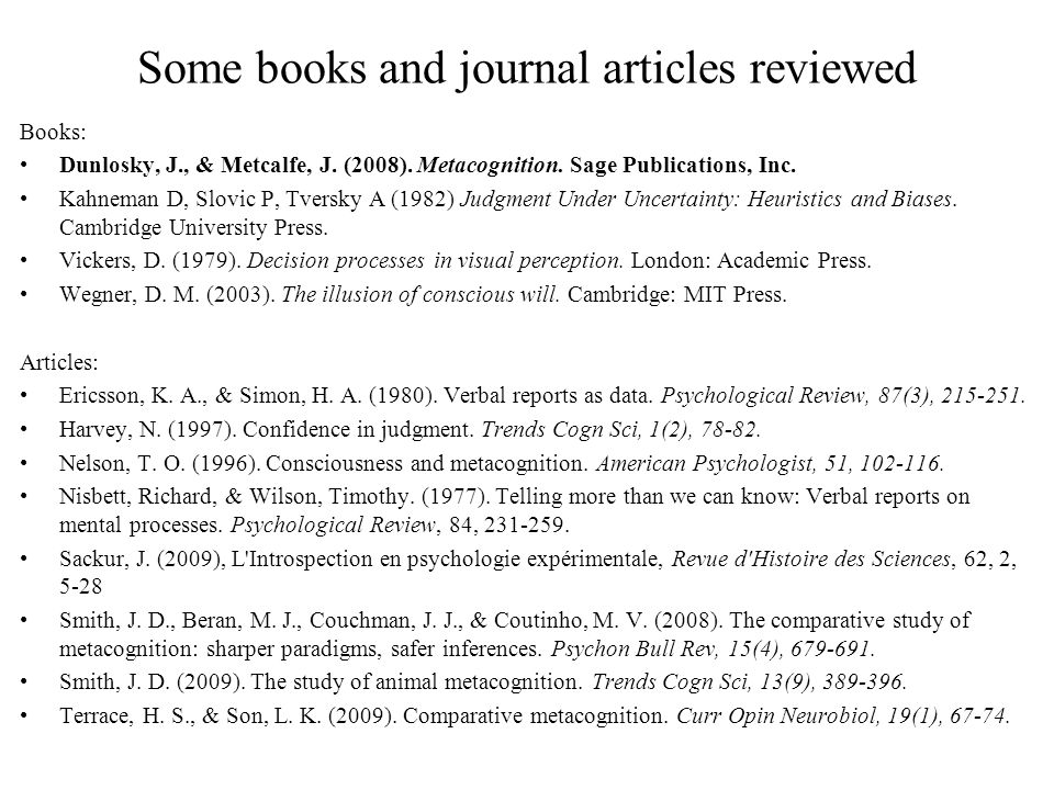 Some books and journal articles reviewed