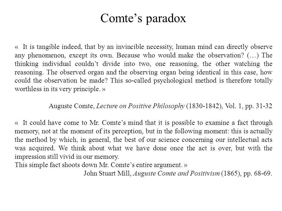 Comte's paradox
