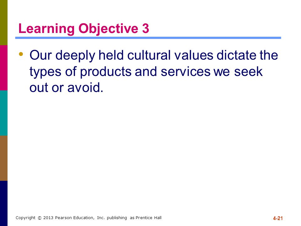 Learning Objective 3 Our deeply held cultural values dictate the types of products and services we seek out or avoid.