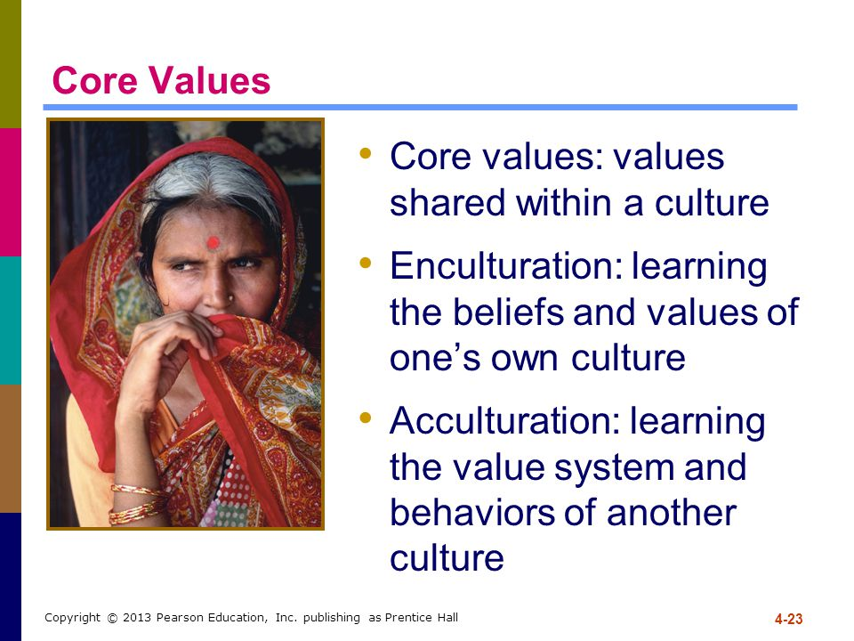 Core values: values shared within a culture