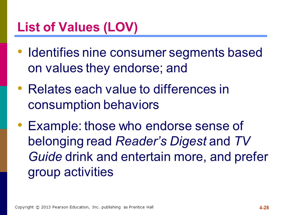 Identifies nine consumer segments based on values they endorse; and