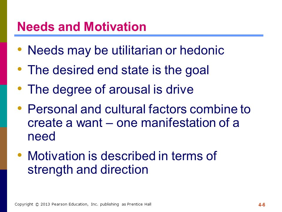 Needs may be utilitarian or hedonic The desired end state is the goal