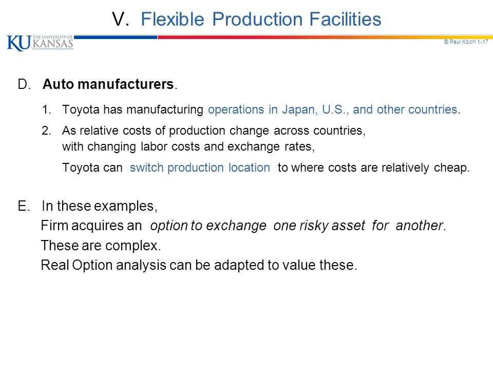 V. Flexible Production Facilities