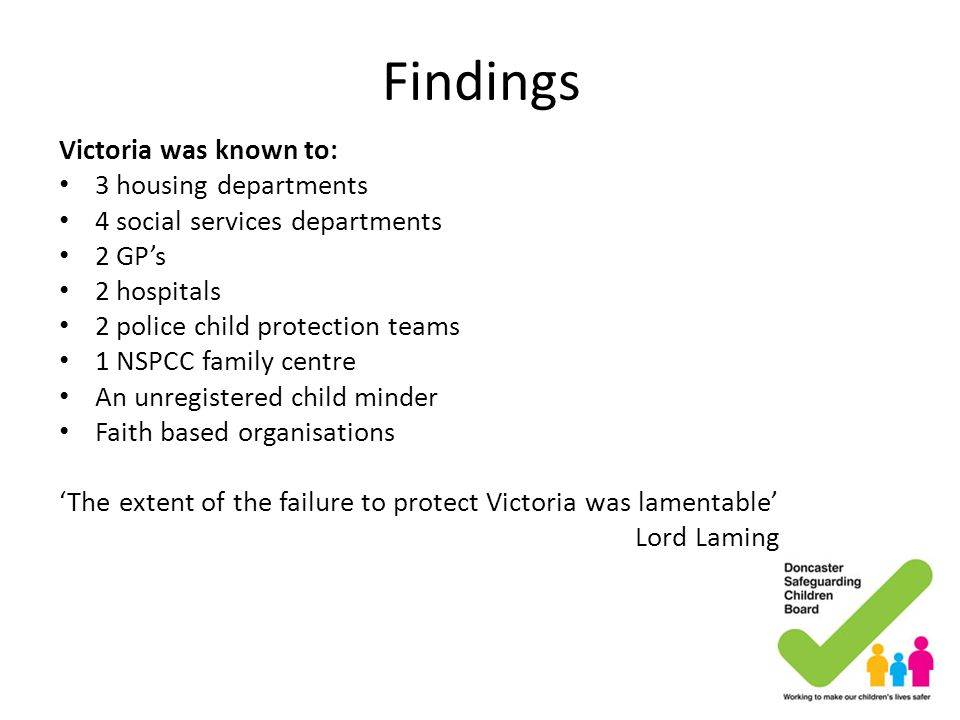 Findings Victoria was known to: 3 housing departments