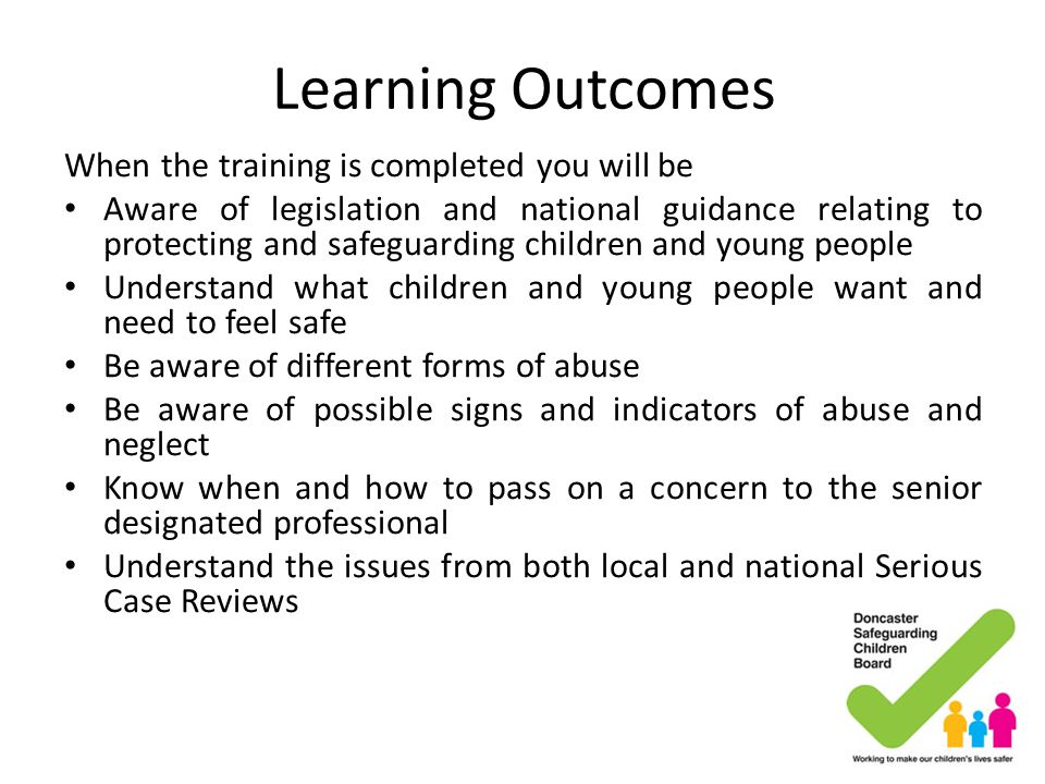 Learning Outcomes When the training is completed you will be