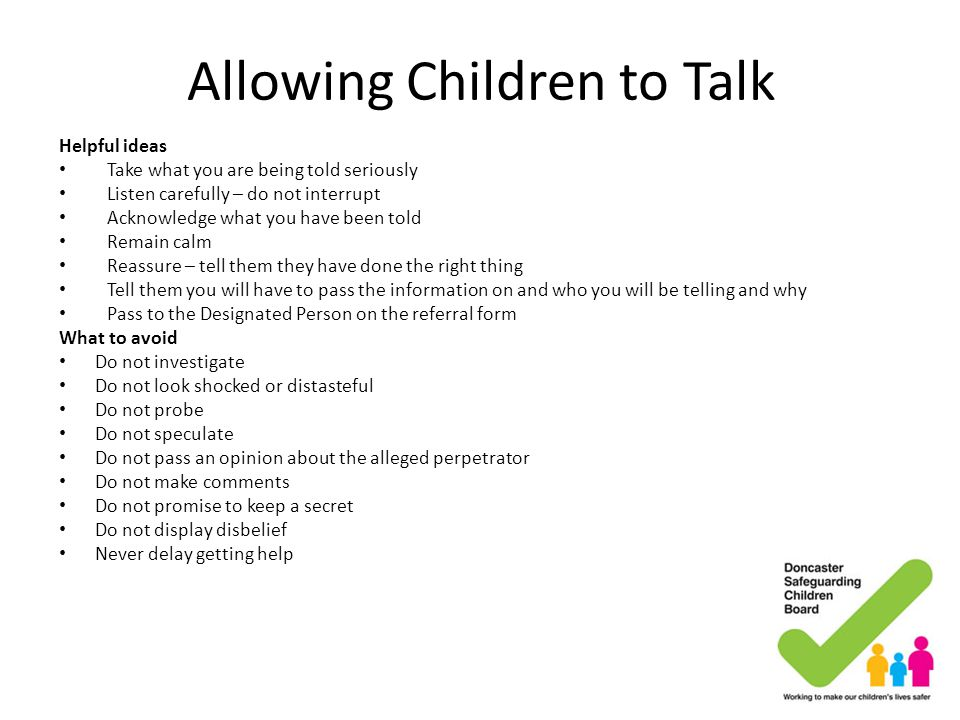 Allowing Children to Talk